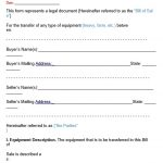 Free Equipment Bill of Sale Form Template (Word, PDF)