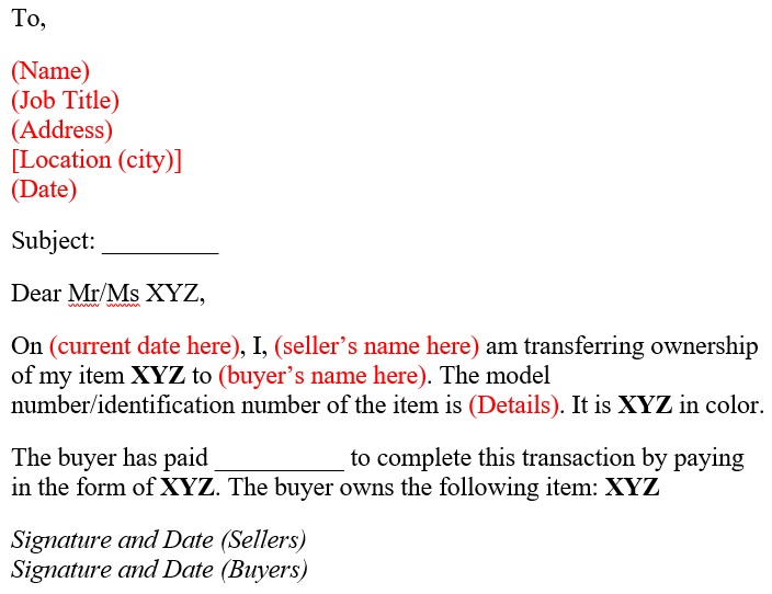 sample authorization letter to transfer ownership of vehicle