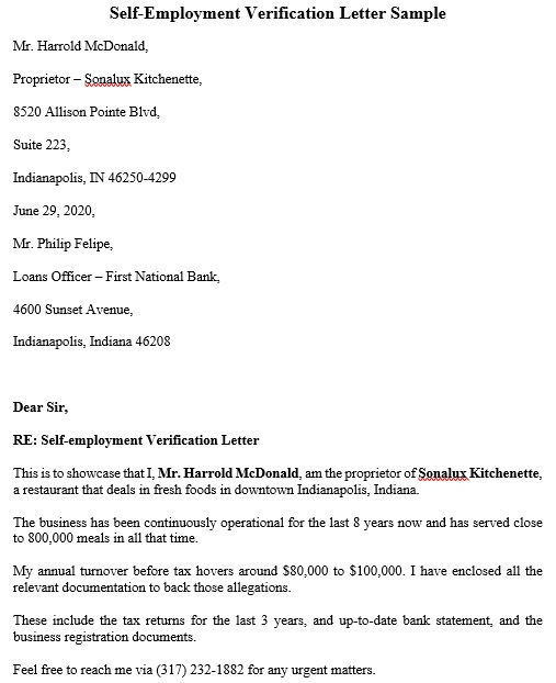 self-employment verification letter sample