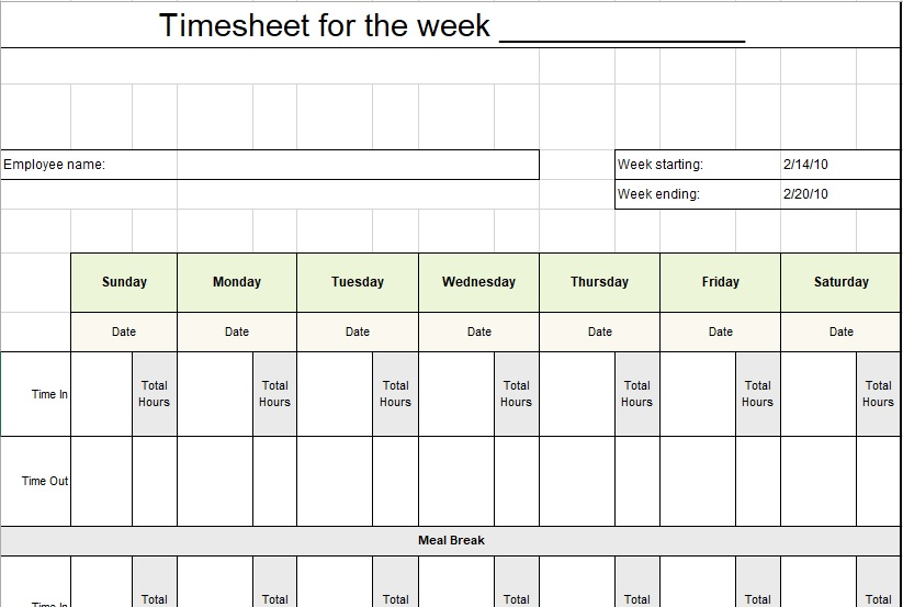 blank timesheet template for the week