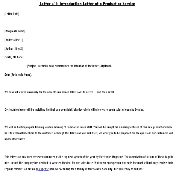 how to write a letter announcing a new product