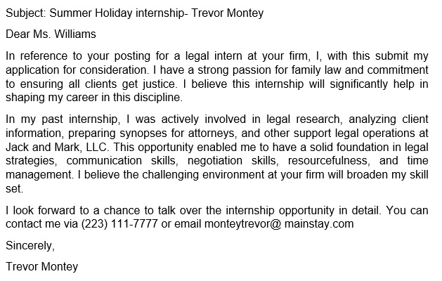 law student cover letter email