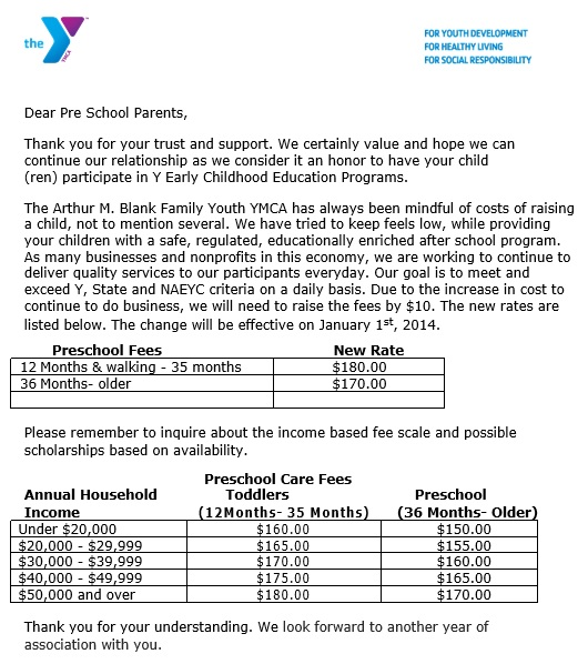 price increase letter for pre school parents