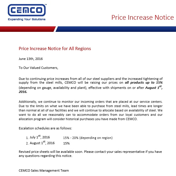 price increase notice for all regions