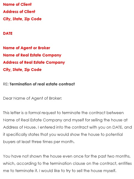 real estate contract termination letter example