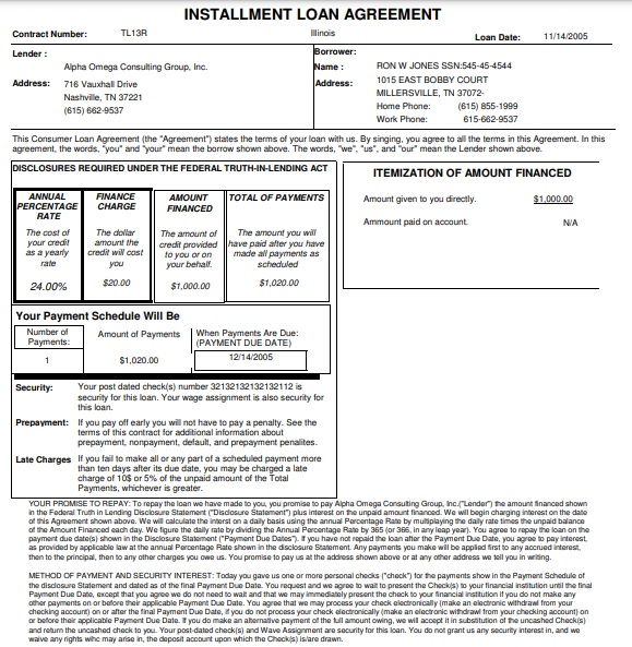sample personal loan installment agreement template